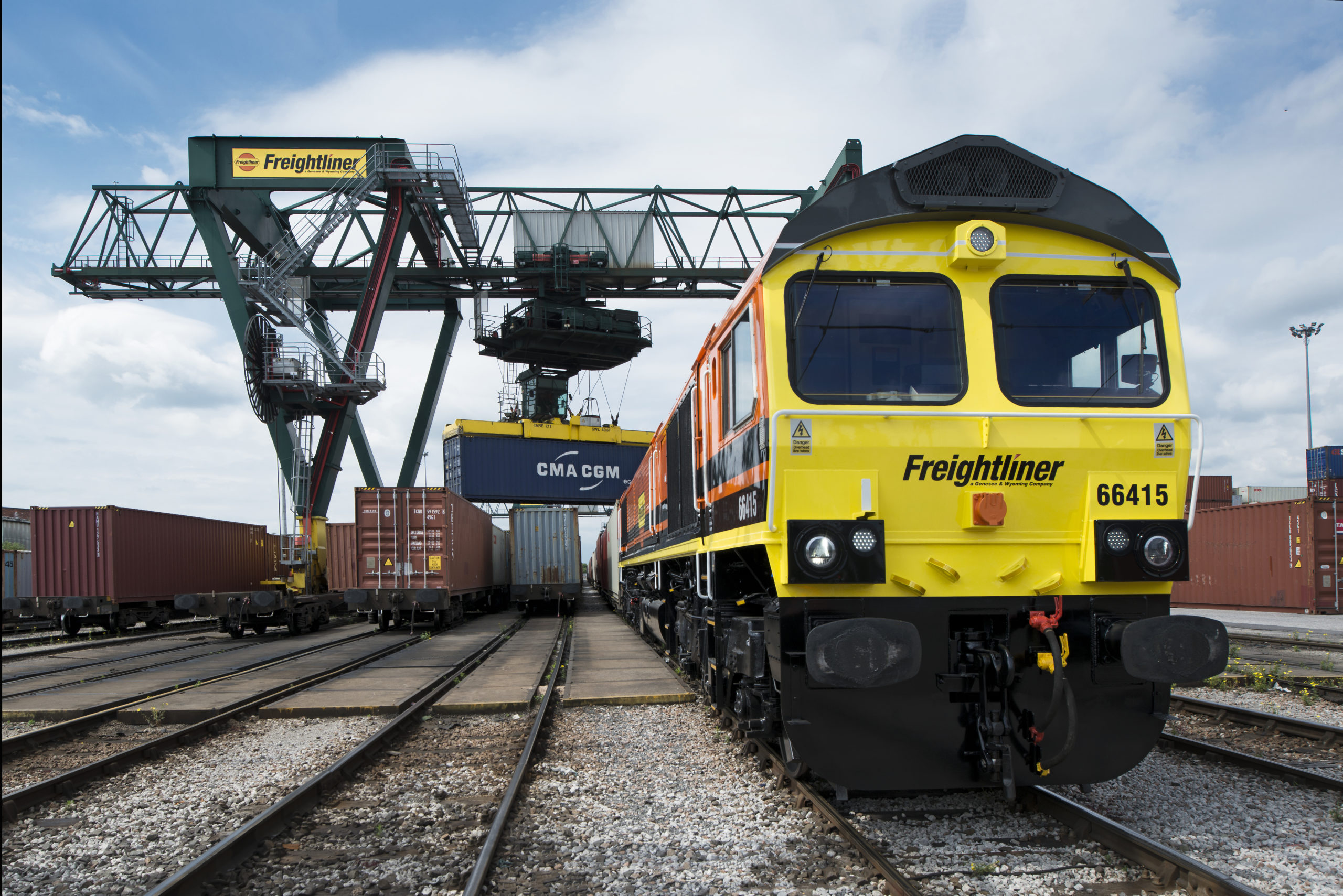 Freightliner UK intermodal yard and train